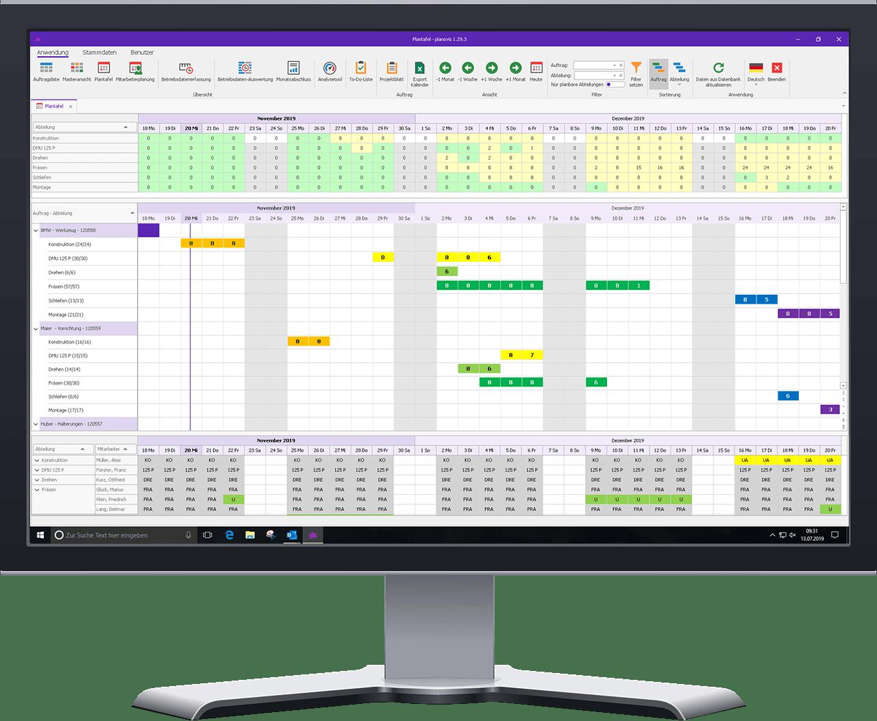 planovis Planungssystem Plantafel Projektplanung PC
